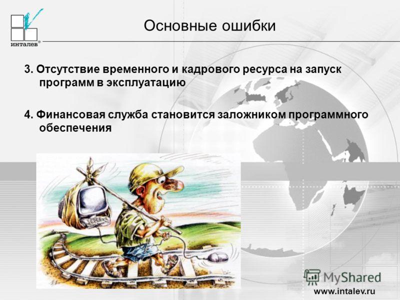 www.intalev.ru 3. Отсутствие временного и кадрового ресурса на запуск программ в эксплуатацию 4. Финансовая служба становится заложником программного обеспечения Основные ошибки