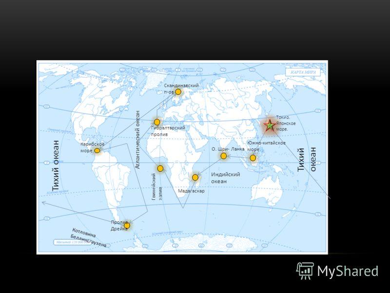 Токио. Японское море. Южно-китайское море. Индийский океан О. Шри- Ланка Тихий океан Мадагаскар Гвинейский залив Атлантический океан Гибралтарский пролив Скандинавский п-ов Африка Карибское море Тихий океан Пролив Дрейка Котловина Беллинсгаузена