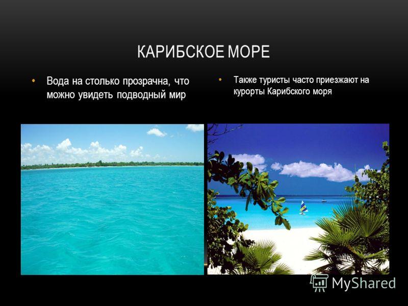 Вода на столько прозрачна, что можно увидеть подводный мир Также туристы часто приезжают на курорты Карибского моря КАРИБСКОЕ МОРЕ