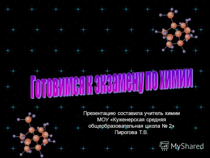 Презентацию составила учитель химии МОУ «Куженерская средняя общеобразовательная школа 2» Пирогова Т.В.