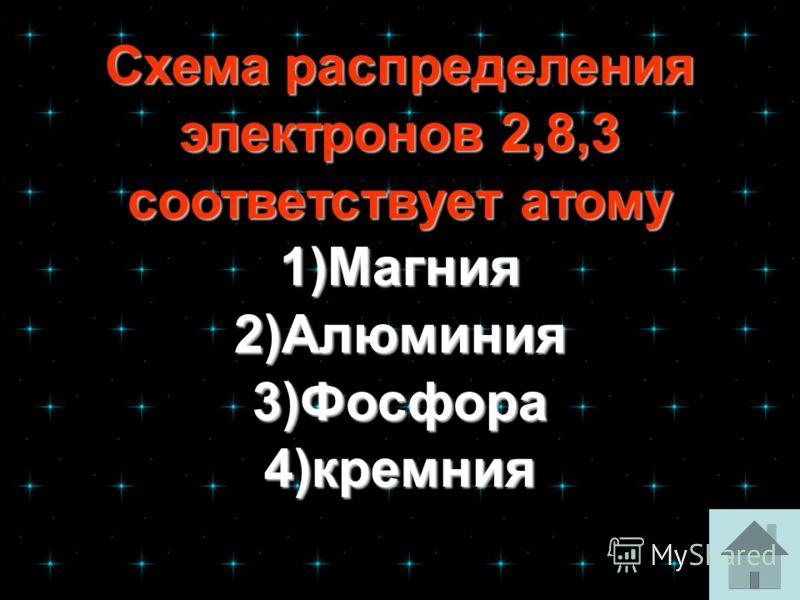 Схема распределения электронов 2,8,3 соответствует атому Схема распределения электронов 2,8,3 соответствует атому 1)Магния 2)Алюминия 3)Фосфора 4)кремния