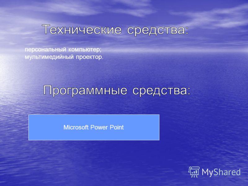 персональный компьютер; мультимедийный проектор. Microsoft Power Point