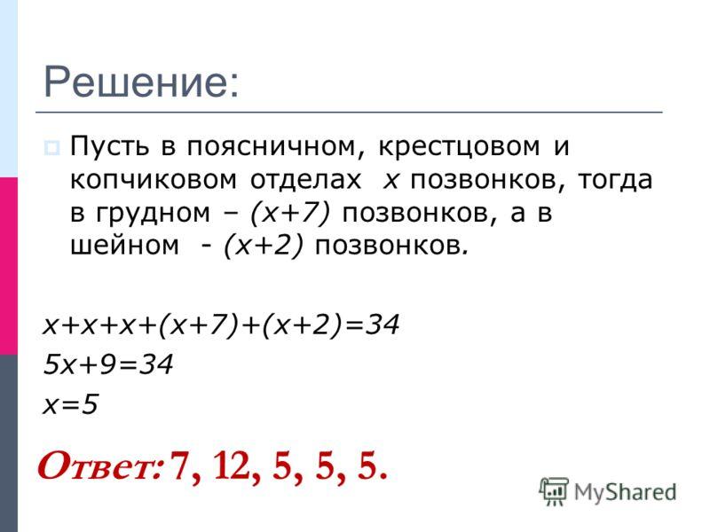 Решение: Пусть в поясничном, крестцовом и копчиковом отделах х позвонков, тогда в грудном – (х+7) позвонков, а в шейном - (х+2) позвонков. х+х+х+(х+7)+(х+2)=34 5х+9=34 х=5 Ответ: 7, 12, 5, 5, 5.