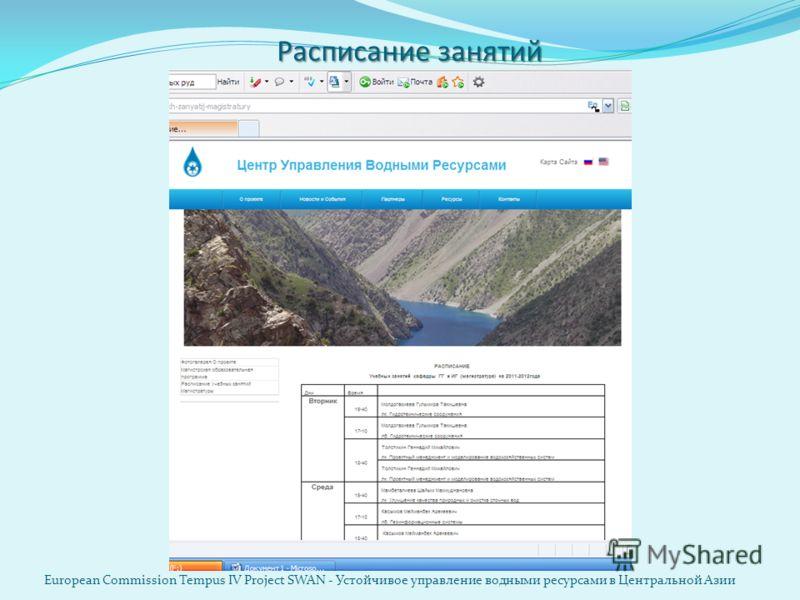 Расписание занятий European Commission Tempus IV Project SWAN - Устойчивое управление водными ресурсами в Центральной Азии