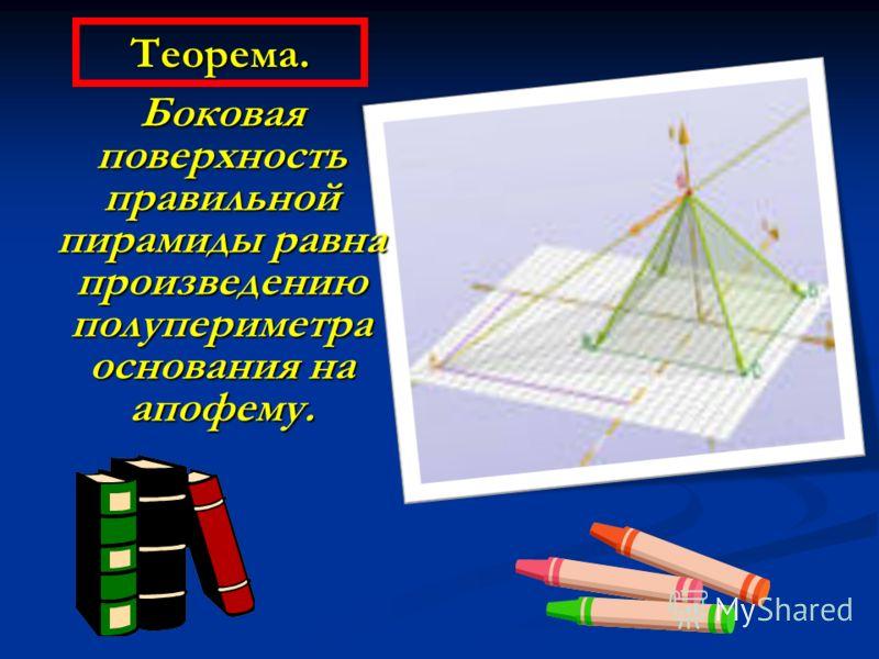 Пирамида называется правильной, если в основании лежит правильный многоугольник, а её высота падает в центр основания. Все боковые рёбра правильной пирамиды равны; все боковые грани – равнобедренные треугольники. Высота боковой грани (SF) называется