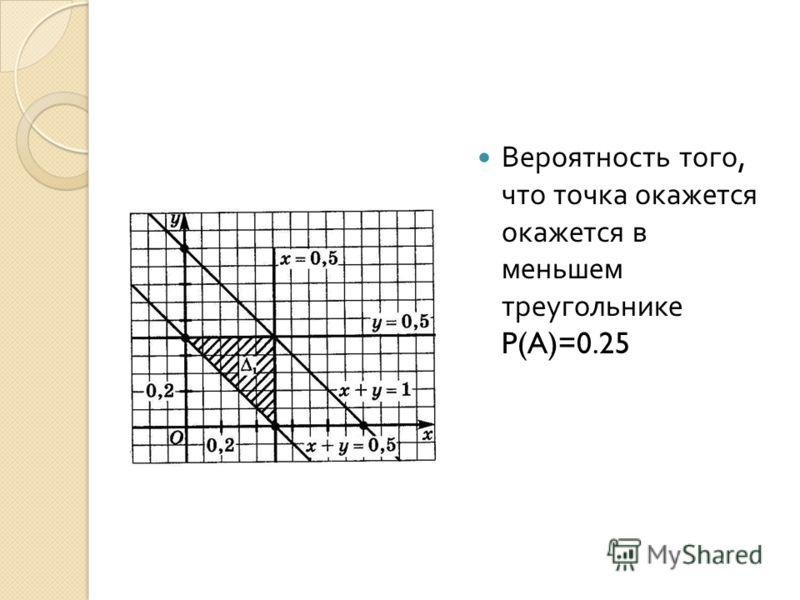 Вероятность того, что точка окажется окажется в меньшем треугольнике P(A)=0.25