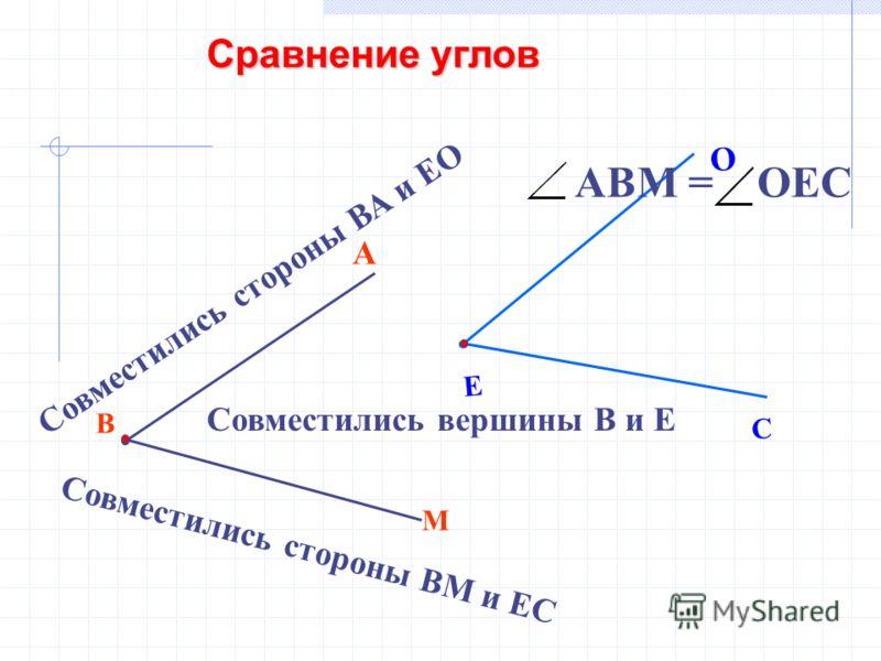 В М А Е С О Совместились вершины В и Е Совместились стороны ВА и ЕО Совместились стороны ВМ и ЕС АВМ = ОЕС Сравнение углов