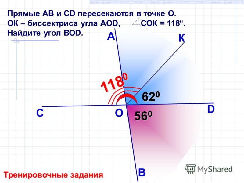 Прямые АB и СD пересекаются в точке О. ОК – биссектриса угла АОD, СОК = 118 0. Найдите угол ВОD. А B С D 62 0 56 0 Тренировочные задания К O 118 0 62 0