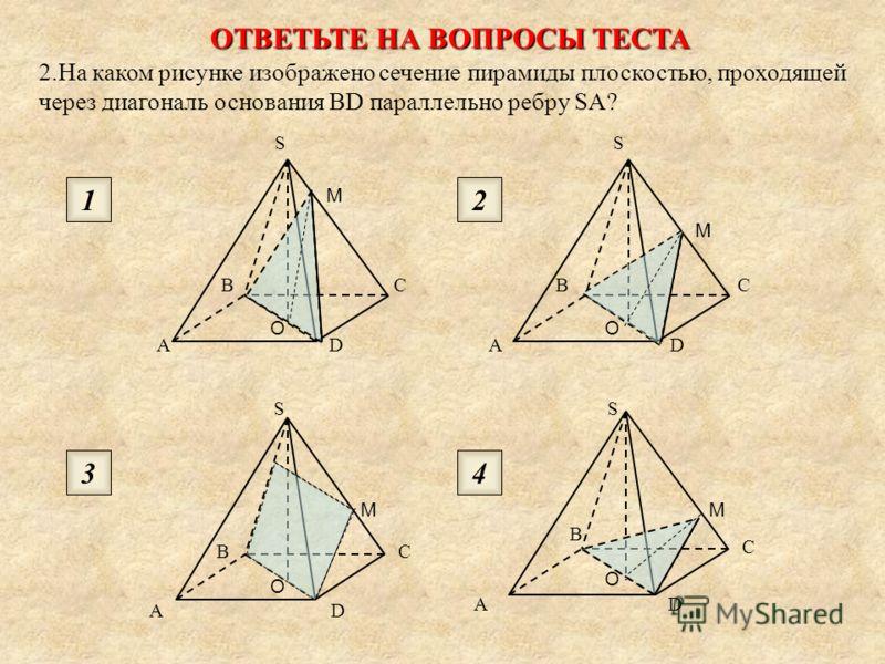 ОТВЕТЬТЕ НА ВОПРОСЫ ТЕСТА 1. На каком рисунке изображено сечение куба плоскостью ABC? AB C AB C AB C AB C 1 3 2 4