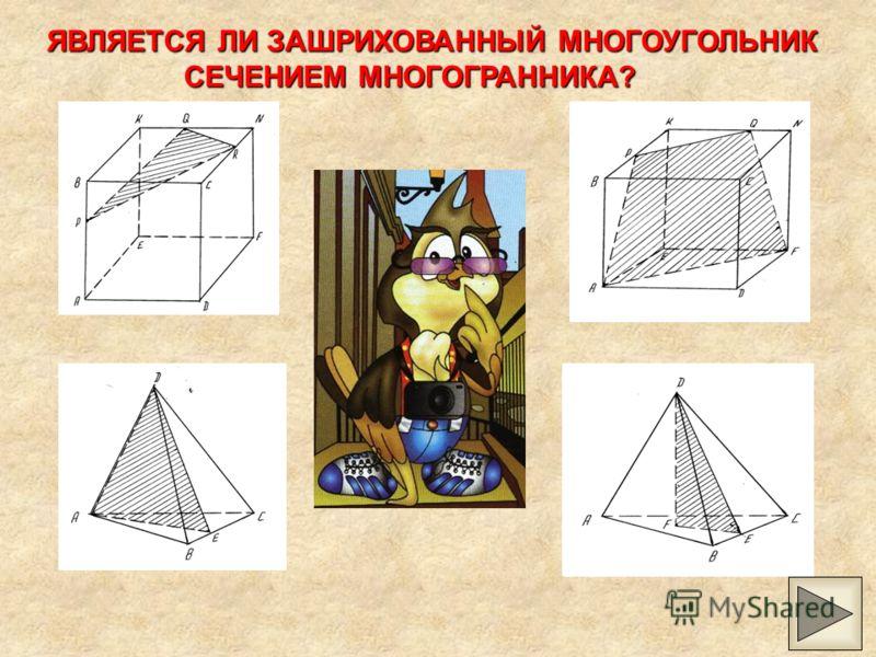 СЕЧЕНИЕ Секущей плоскостью называют любую плоскость, по обе стороны от которой имеются точки данного многогранника Секущая плоскость пересекает грани многогранника по отрезкам Многоугольник, сторонами которого являются эти отрезки, называется сечение