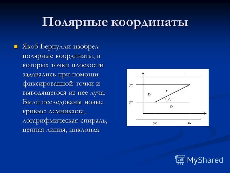 Полярные координаты Якоб Бернулли изобрел полярные координаты, в которых точки плоскости задавались при помощи фиксированной точки и выводящегося из нее луча. Были исследованы новые кривые: лемникаста, логарифмическая спираль, цепная линия, циклоида.