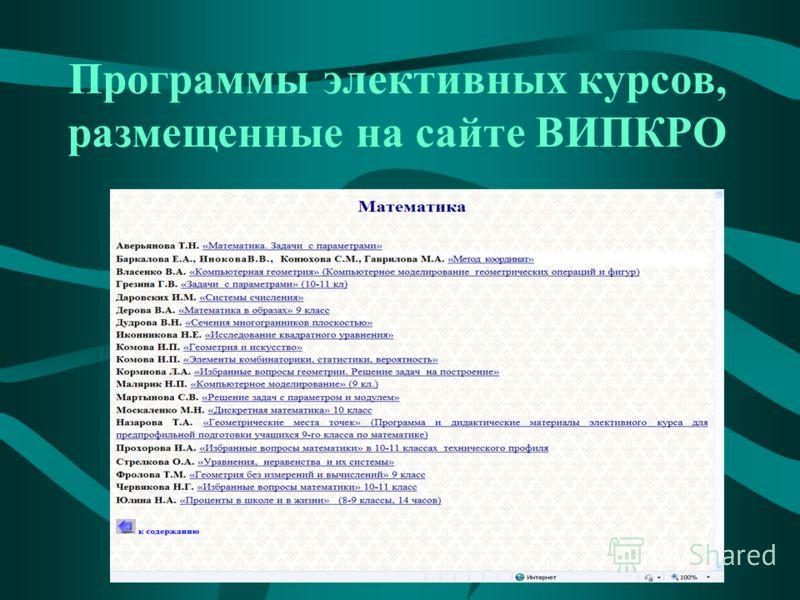 Программы элективных курсов, размещенные на сайте ВИПКРО