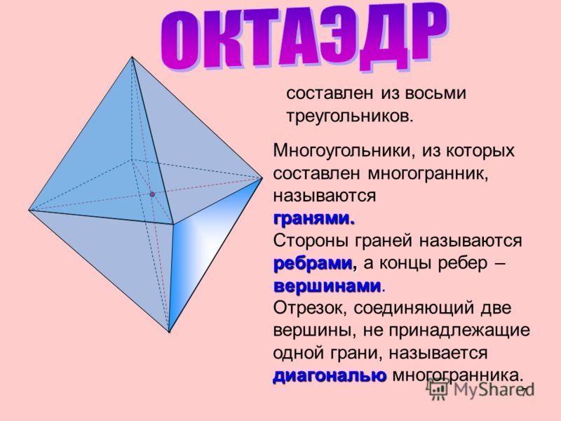 Тетраэдр Тетраэдр – поверхность, составленная из четырех треугольников. С А В SS 6