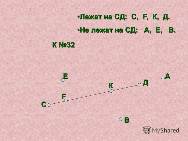 К 32 С Д F Е К А В Лежат на СД: С, F, К, Д. Не лежат на СД: А, Е, В.