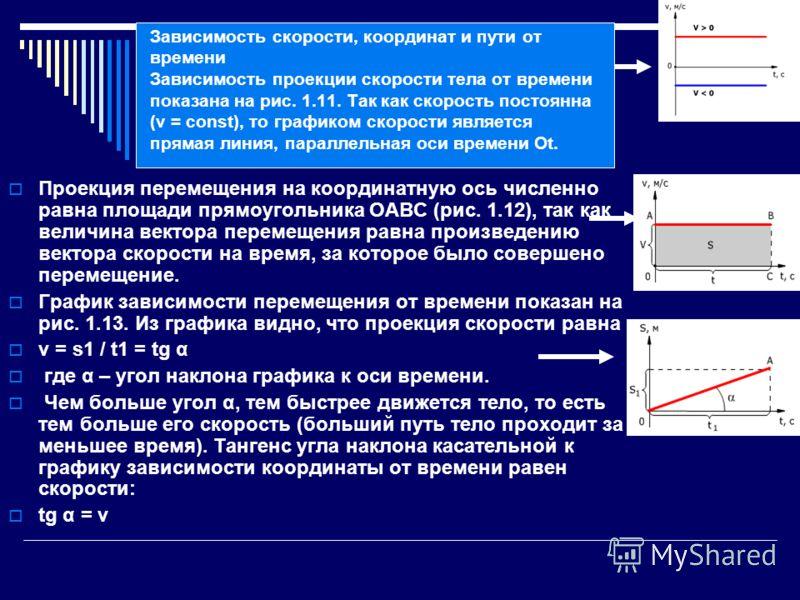 Зависимость скорости, координат и пути от времени Зависимость проекции скорости тела от времени показана на рис. 1.11. Так как скорость постоянна (v = const), то графиком скорости является прямая линия, параллельная оси времени Ot. Проекция перемещен