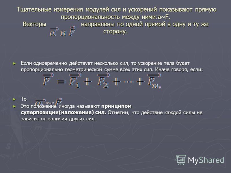 Тщательные измерения модулей сил и ускорений показывают прямую пропорциональность между ними:a~F. Векторы направлены по одной прямой в одну и ту же сторону. Тщательные измерения модулей сил и ускорений показывают прямую пропорциональность между ними: