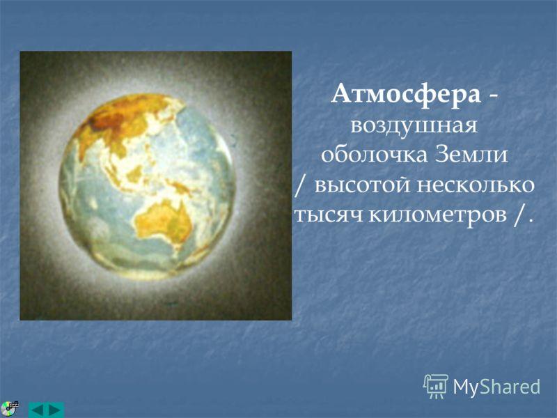 Атмосфера - воздушная оболочка Земли / высотой несколько тысяч километров /.