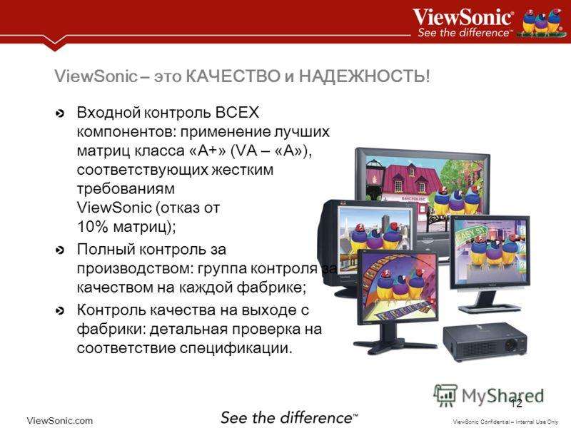 ViewSonic.com ViewSonic Confidential – Internal Use Only 12 ViewSonic – это КАЧЕСТВО и НАДЕЖНОСТЬ! Входной контроль ВСЕХ компонентов: применение лучших матриц класса « А+ » (VA – « А » ), соответствующих жестким требованиям ViewSonic (отказ от 10% ма