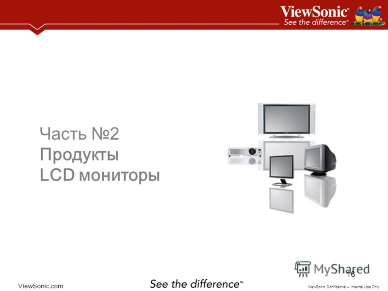 ViewSonic.com ViewSonic Confidential – Internal Use Only 16 Часть 2 Продукты LCD мониторы
