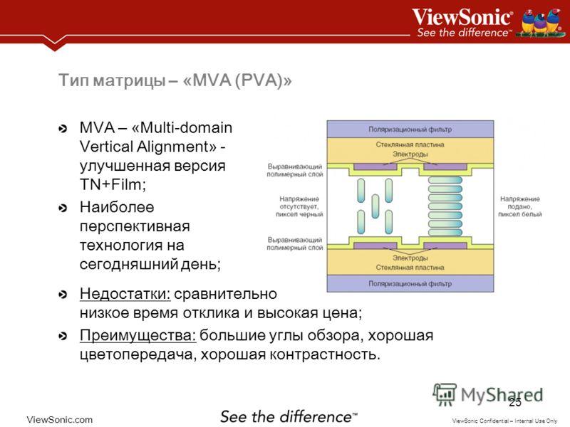 ViewSonic.com ViewSonic Confidential – Internal Use Only 25 Тип матрицы – «MVA (PVA)» MVA – « Multi-domain Vertical Alignment » - улучшенная версия TN+Film; Наиболее перспективная технология на сегодняшний день; Недостатки: сравнительно низкое время