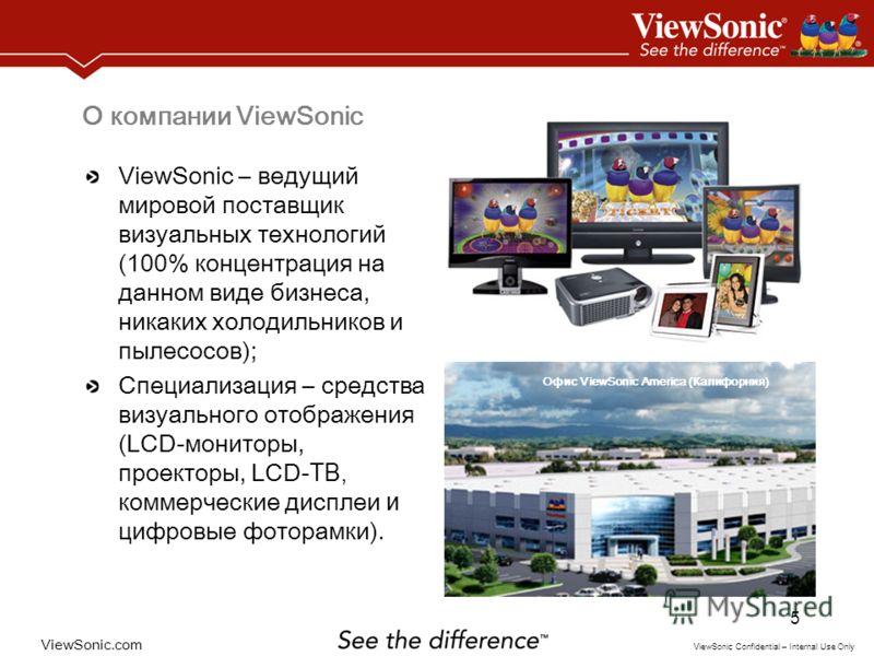 ViewSonic.com ViewSonic Confidential – Internal Use Only 5 О компании ViewSonic ViewSonic – ведущий мировой поставщик визуальных технологий (100% концентрация на данном виде бизнеса, никаких холодильников и пылесосов); Специализация – средства визуал