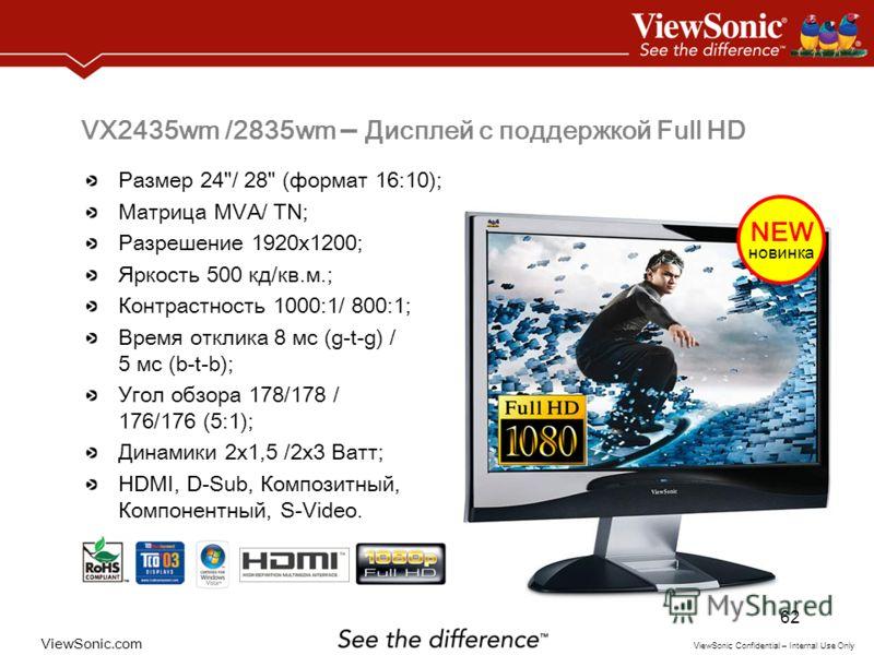 ViewSonic.com ViewSonic Confidential – Internal Use Only 62 VX2435wm /2835wm – Дисплей с поддержкой Full HD Размер 24