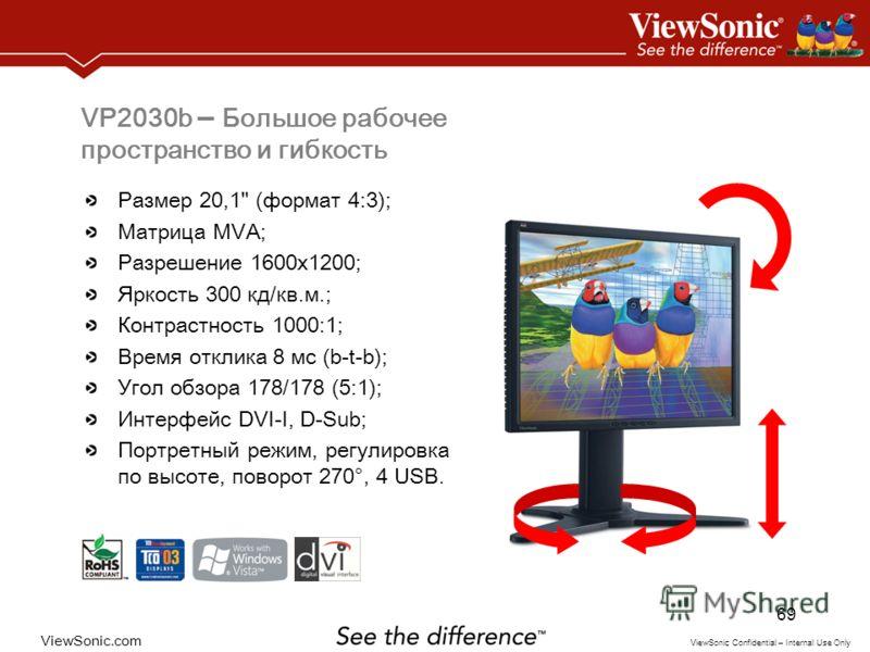 ViewSonic.com ViewSonic Confidential – Internal Use Only 69 VP2030b – Большое рабочее пространство и гибкость Размер 20,1