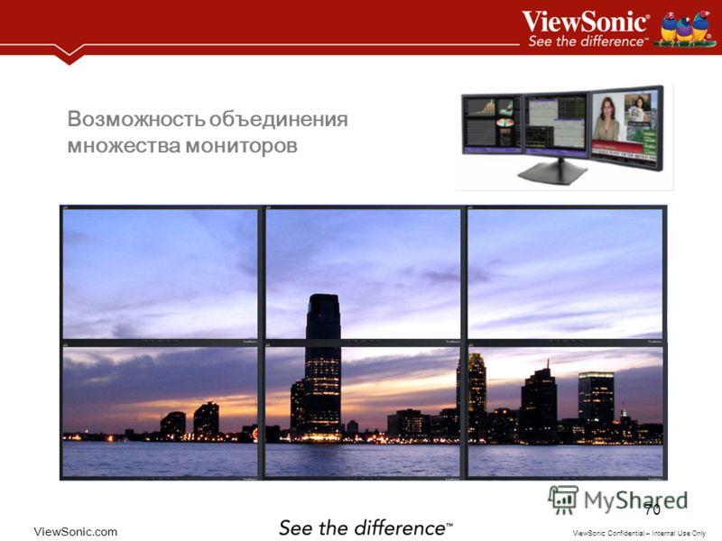 ViewSonic.com ViewSonic Confidential – Internal Use Only 70 Возможность объединения множества мониторов