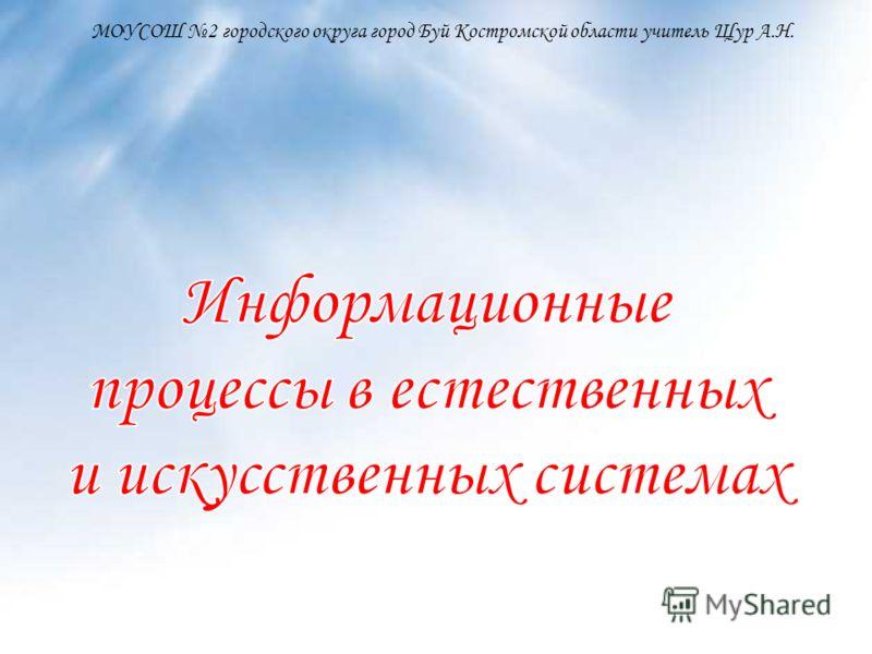 МОУСОШ 2 городского округа город Буй Костромской области учитель Щур А.Н.