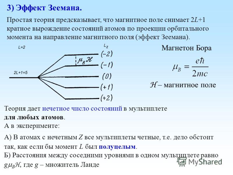 Простая теория предсказывает, что магнитное поле снимает 2L+1 кратное вырождение состояний атомов по проекции орбитального момента на направление магнитного поля (эффект Зеемана). 3) Эффект Зеемана. Магнетон Бора H – магнитное поле Теория дает нечетн