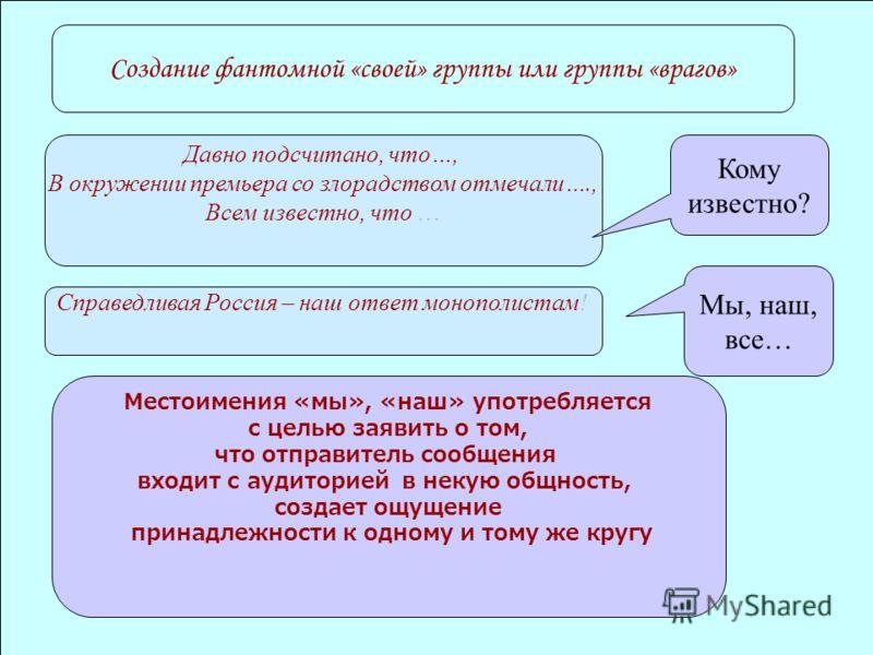 Создание фантомной «своей» группы или группы «врагов» Давно подсчитано, что…, В окружении премьера со злорадством отмечали…., Всем известно, что … Справедливая Россия – наш ответ монополистам! Местоимения «мы», «наш» употребляется с целью заявить о т