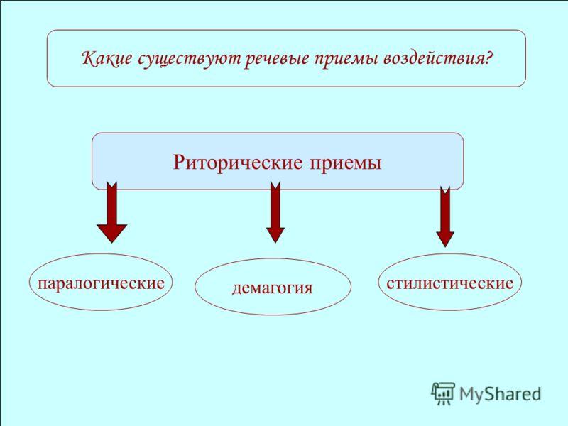 Какие существуют речевые приемы воздействия? Риторические приемы паралогические демагогия стилистические