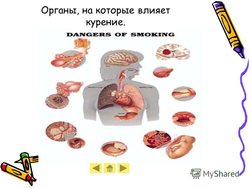 Органы, на которые влияет курение.