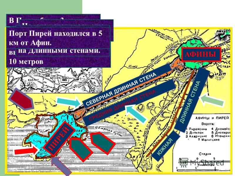 АФИНЫ ПИРЕЙ ЮЖНАЯ ДЛИННАЯ СТЕНА СРЕДНЯЯ ДЛИННАЯ СТЕНА СЕВЕРНАЯ ДЛИННАЯ СТЕНА И одна торговая 2 военных В Пирее было 3 гавани Сам порт был окружен крепостными стенами высотой около 10 метров На юге находилась еще одна стена. Дорога соединявшая его с г