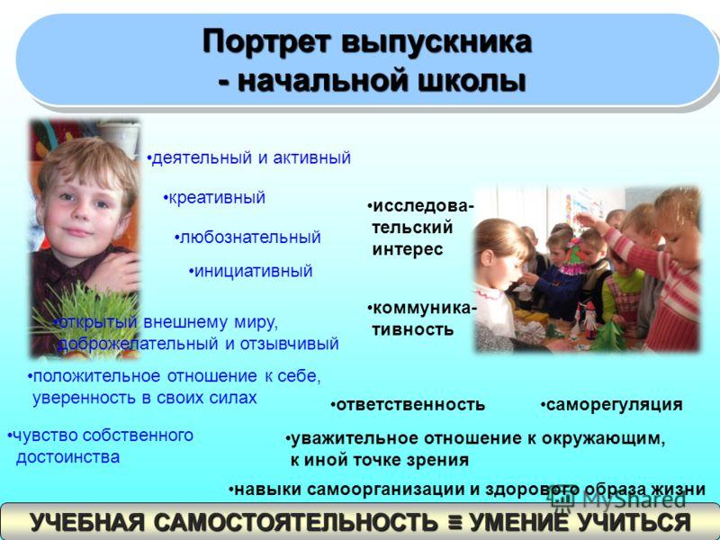 Портрет выпускника - начальной школы - начальной школы Портрет выпускника - начальной школы - начальной школы деятельный и активный креативный любознательный инициативный открытый внешнему миру, доброжелательный и отзывчивый положительное отношение к