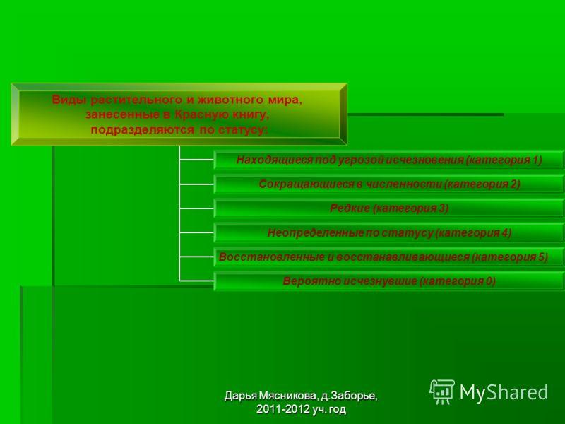Дарья Мясникова, д.Заборье, 2011-2012 уч. год Виды растительного и животного мира, занесенные в Красную книгу, подразделяются по статусу: Находящиеся под угрозой исчезновения (категория 1) Сокращающиеся в численности (категория 2) Редкие (категория 3