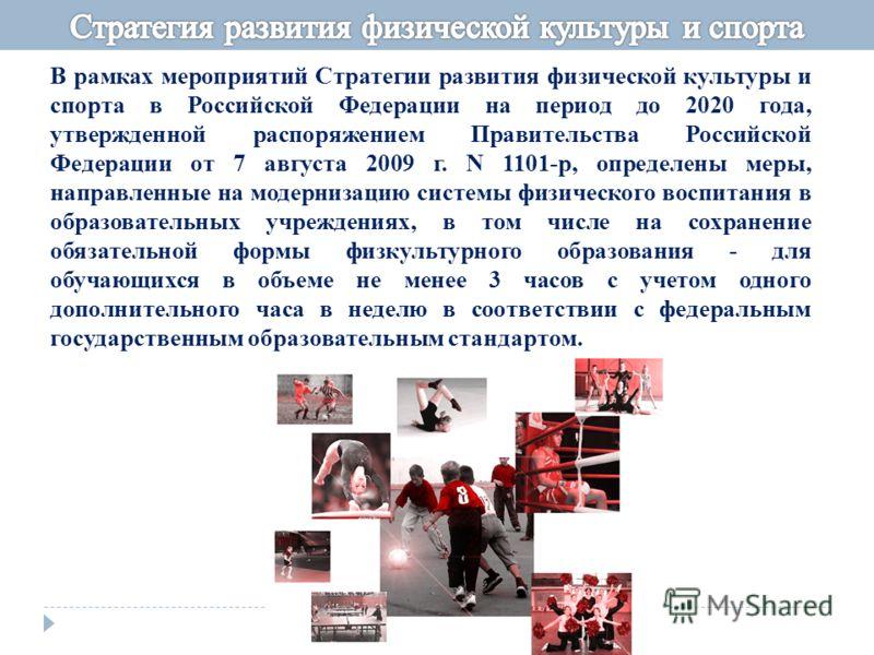 В рамках мероприятий Стратегии развития физической культуры и спорта в Российской Федерации на период до 2020 года, утвержденной распоряжением Правительства Российской Федерации от 7 августа 2009 г. N 1101-р, определены меры, направленные на модерниз