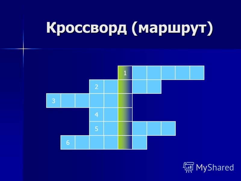 Кроссворд (маршрут) Кроссворд (маршрут) 1 2 3 5 4 6