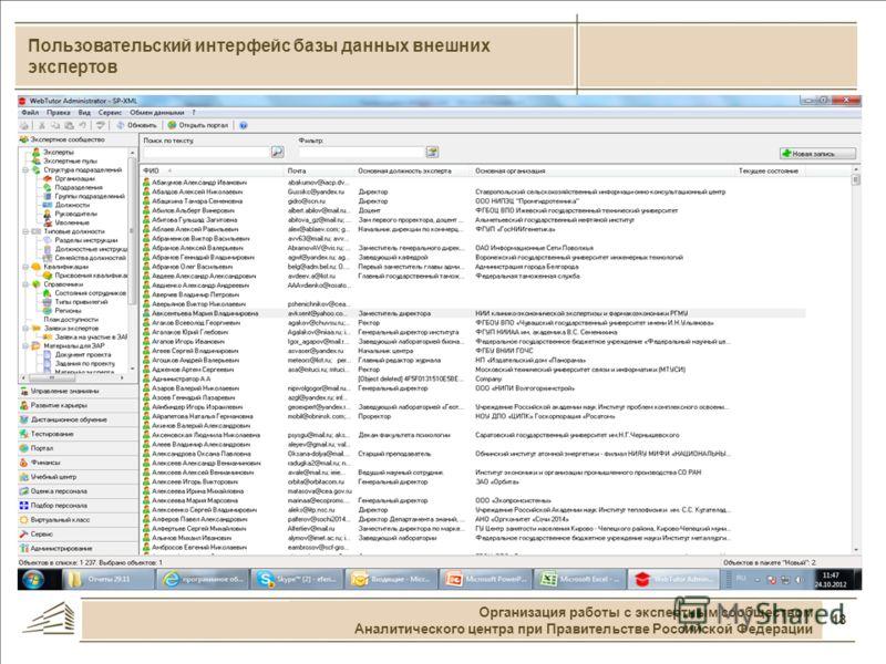 13 Пользовательский интерфейс базы данных внешних экспертов Организация работы с экспертным сообществом Аналитического центра при Правительстве Российской Федерации