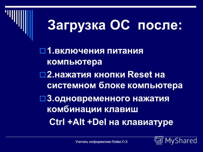 Загрузка ОС после: 1.включения питания компьютера 2.нажатия кнопки Reset на системном блоке компьютера 3.одновременного нажатия комбинации клавиш Ctrl +Alt +Del на клавиатуре Учитель информатики Лойко О.Х