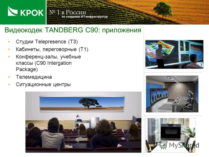 Видеокодек TANDBERG C90: приложения Студии Telepresence (T3) Кабинеты, переговорные (T1) Конференц-залы, учебные классы (C90 Intergation Package) Телемедицина Ситуационные центры