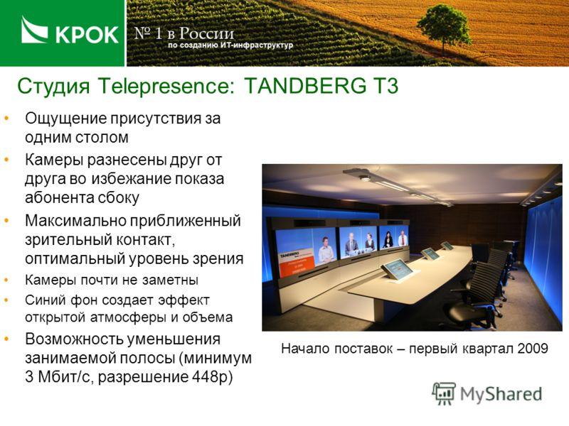 Студия Telepresence: TANDBERG T3 Ощущение присутствия за одним столом Камеры разнесены друг от друга во избежание показа абонента сбоку Максимально приближенный зрительный контакт, оптимальный уровень зрения Камеры почти не заметны Синий фон создает