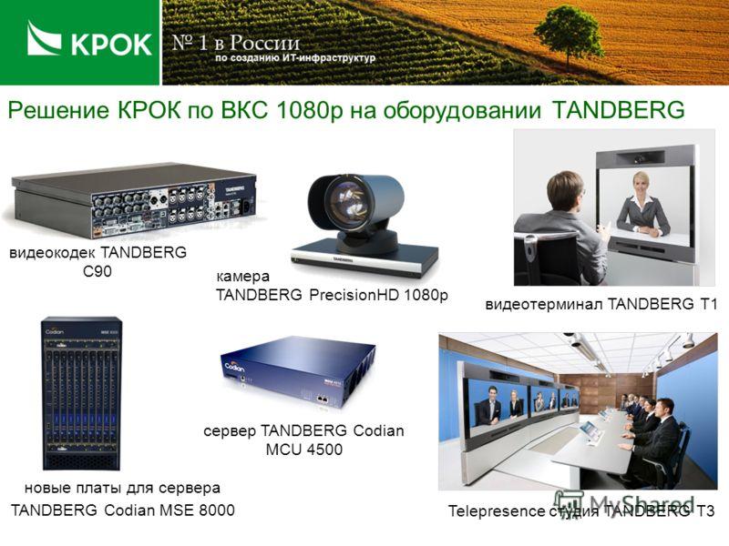 Решение КРОК по ВКС 1080p на оборудовании TANDBERG видеокодек TANDBERG C90 камера TANDBERG PrecisionHD 1080p видеотерминал TANDBERG T1 Telepresence студия TANDBERG T3 новые платы для сервера TANDBERG Codian MSE 8000 сервер TANDBERG Codian MCU 4500