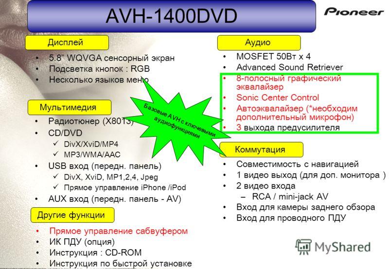 AVH-1400DVD Совместимость с навигацией 1 видео выход (для доп. монитора ) 2 видео входа –RCA / mini-jack AV Вход для камеры заднего обзора Вход для проводного ПДУ Дисплей Коммутация Мультимедия Аудио Другие функции 5.8 WQVGA сенсорный экран Подсветка