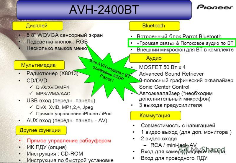 AVH-2400BT Радиотюнер (X8013) CD/DVD DivX/XviD/MP4 MP3/WMA/AAC USB вход (передн. панель) DivX, XviD, MP1,2,4, Jpeg Прямое управление iPhone / iPod AUX вход (передн. панель - AV) Совместимость с навигацией 1 видео выход (для доп. монитора ) 2 видео вх
