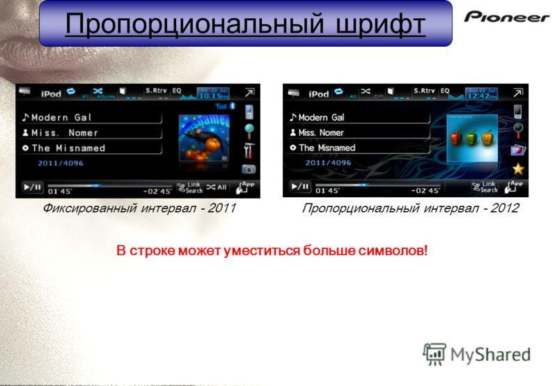 Пропорциональный шрифт Фиксированный интервал - 2011Пропорциональный интервал - 2012 В строке может уместиться больше символов!