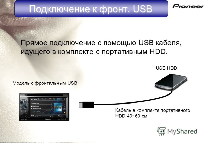 USB HDD Модель с фронтальным USB Прямое подключение с помощью USB кабеля, идущего в комплекте с портативным HDD. Кабель в комплекте портативного HDD 40~60 см Подключение к фронт. USB