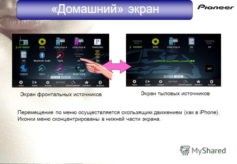 «Домашний» экран Экран фронтальных источников Экран тыловых источников Перемещение по меню осуществляется скользящим движением (как в iPhone). Иконки меню сконцентрированы в нижней части экрана.