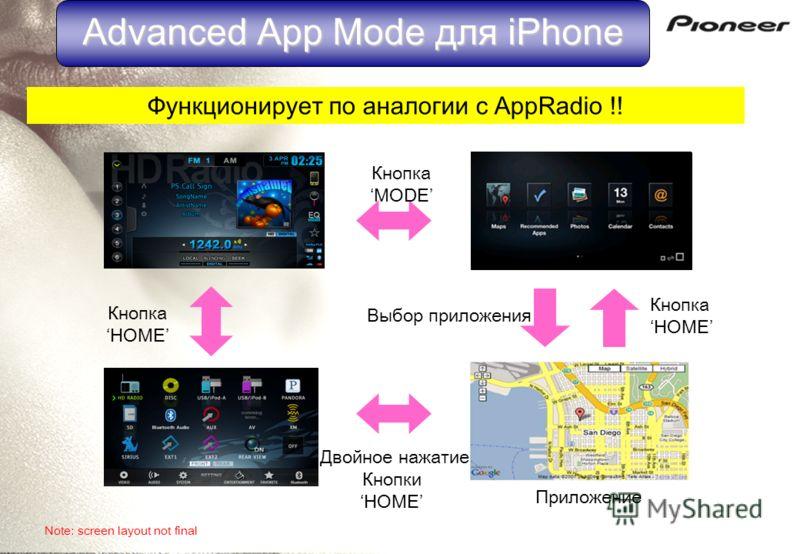 Please launch App Radio app From your iPhone Advanced App Mode для iPhone Функционирует по аналогии с AppRadio !! Кнопка MODE Кнопка HOME Кнопка HOME Двойное нажатие Кнопки HOME Приложение Выбор приложения Note: screen layout not final