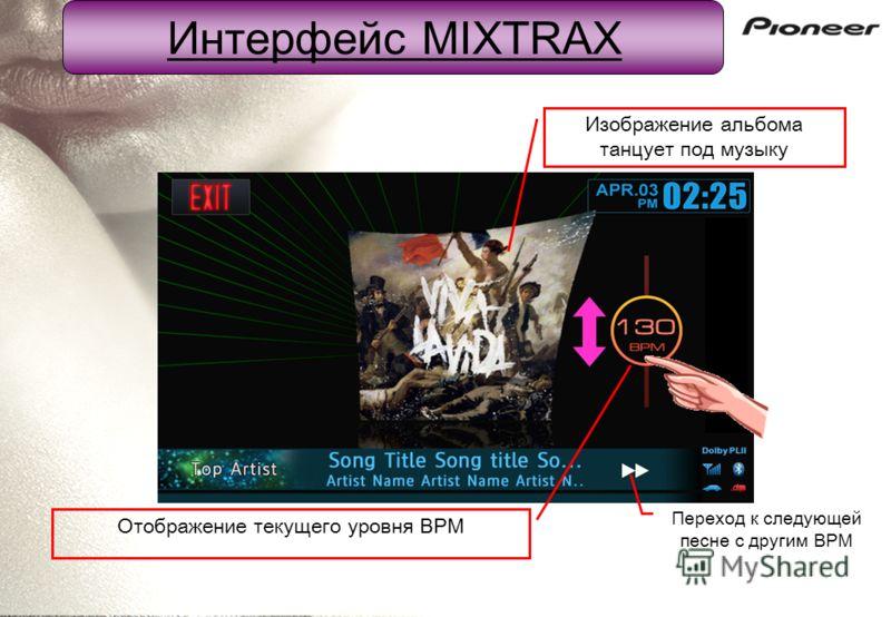 Отображение текущего уровня BPM Изображение альбома танцует под музыку Переход к следующей песне с другим BPM Интерфейс MIXTRAX